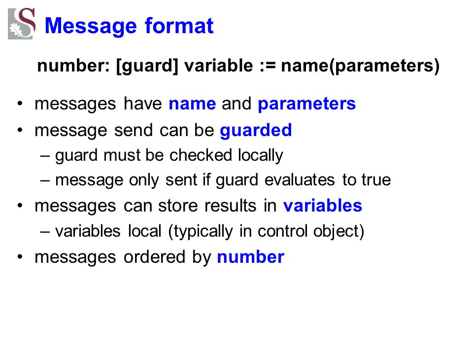 number: [guard] variable := name(parameters)